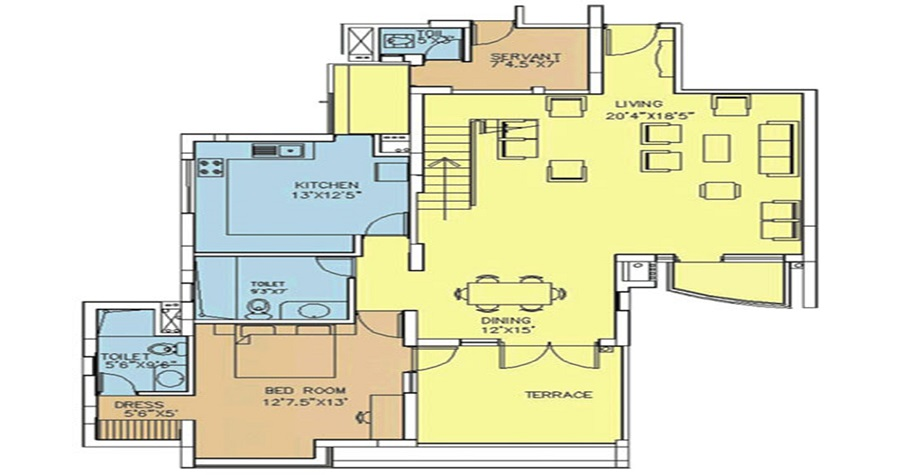 Top 3 BHK Luxury Flats (2075 SQ. FT.)