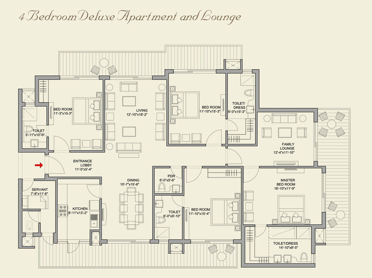 4 Bedroom Deluxe Apartments with Family Lounge+Servant Quarter (3470 SQ FT.)